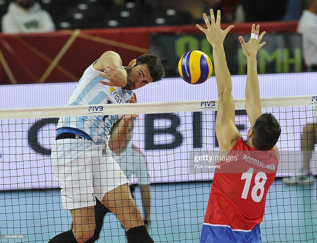 Sebastian Sole of Argentina spikes the ball during the FIVB World Championships match between Serbia and Argentina on September 2, 2014 in Wroclaw, Poland.
