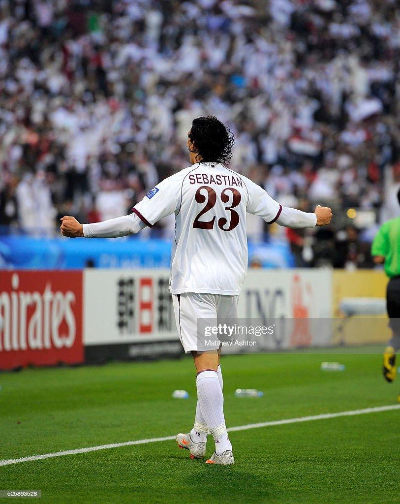 Sebastian Soria of Qatar celebrates after scoring a goal to make it 01