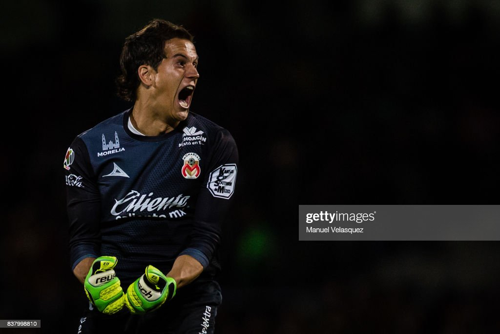 Sebastian Sosa of Morelia celebrates his team's goal during the 6th round match between Pumas UNAM and Morelia as part of the Torneo Apertura 2017 Liga MX at Olimpico Universitario Stadium on August 22, 2017 in Mexico City, Mexico.
