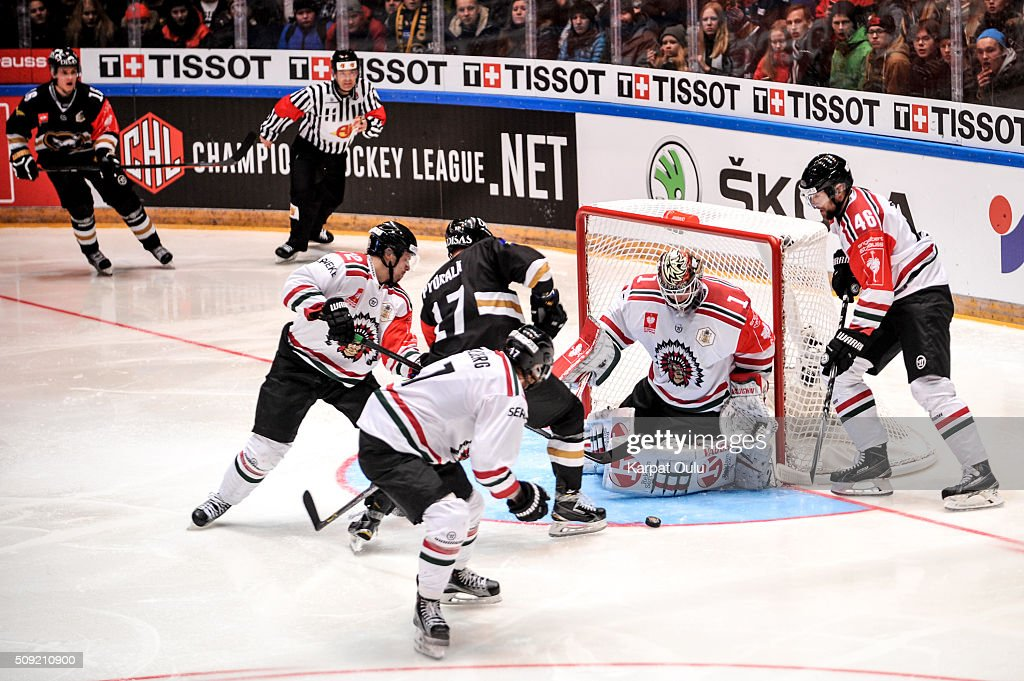 Sebastian Stahlberg #17 and of Karpat Oulu and Patrik Carlsson #72 of Frolunda Gothenburg defending against Mika Pyorala #17 of Karpat Oulu during the Champions Hockey League final between Karpat Oulu and Frolunda Gothenburg at Oulun Energia-Areena on February 9, 2016 in Oulu, Finland.