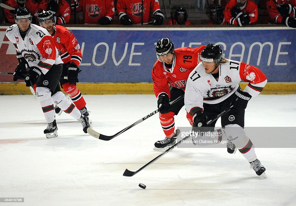 Sebastian Stalberg of Frolunda Gothenburg controls the puck during the Champions Hockey League group stage game between Briancon Diables Rouges and Frolunda Gothenburg on August 23, 2014 in Briancon, France.