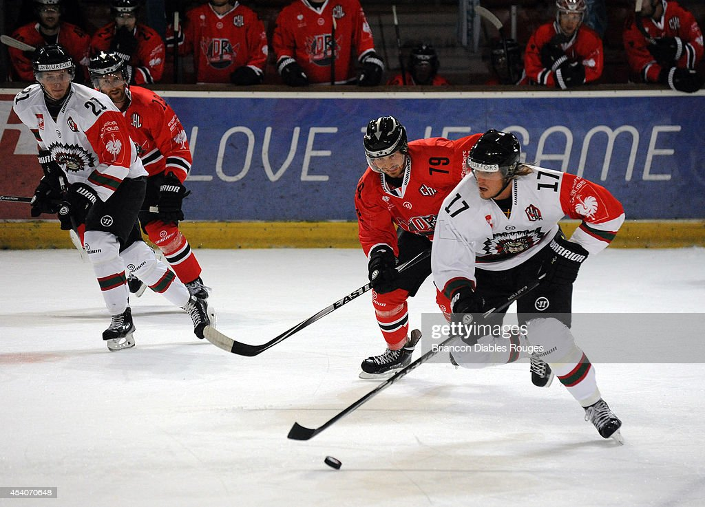 Sebastian Stalberg of Frolunda Gothenburg in action during the Champions Hockey League group stage game between Briancon Diables Rouges and Frolunda Gothenburg on August 23, 2014 in Briancon, France.