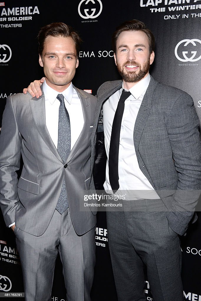 <a gi-track='captionPersonalityLinkClicked' href=/galleries/search?phrase=Sebastian+Stan&family=editorial&specificpeople=656034 ng-click='$event.stopPropagation()'>Sebastian Stan</a> and <a gi-track='captionPersonalityLinkClicked' href=/galleries/search?phrase=Chris+Evans+-+Actor&family=editorial&specificpeople=6873149 ng-click='$event.stopPropagation()'>Chris Evans</a> attend The Cinema Society & Gucci Guilty screening of Marvel's 'Captain America: The Winter Soldier' at Tribeca Grand Hotel on March 31, 2014 in New York City.