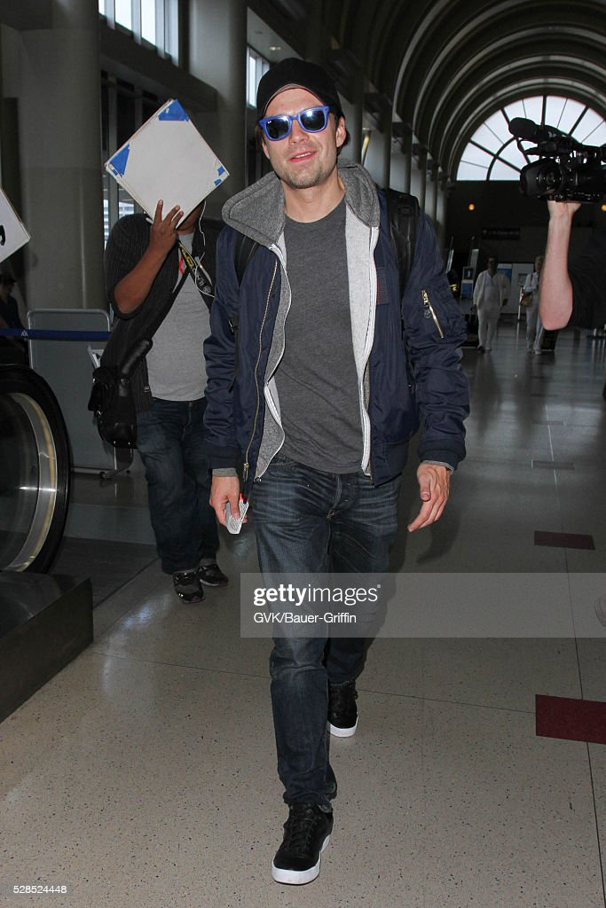 Sebastian Stan is seen at LAX on May 05, 2016 in Los Angeles, California.
