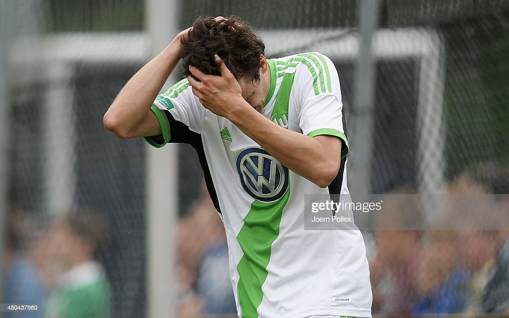 Sebastian Stolze of Wolfsburg gestures during the A Juniors Bundesliga Semi Final at Beekestadium on June 11, 2014 in Hanover, Germany.