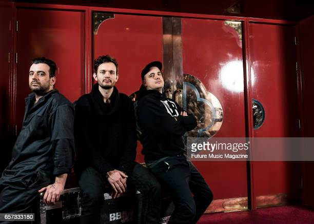 Sebastian Szary Sascha Ring and Gernot Bronsert and of German electronica group Moderat photographed before a live performance at Brighton Dome in...