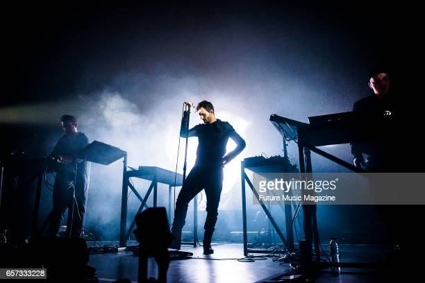 Sebastian Szary Sascha Ring and Gernot Bronsert of German electronica group Moderat performing live on stage at Brighton Dome in Brighton on April 7...