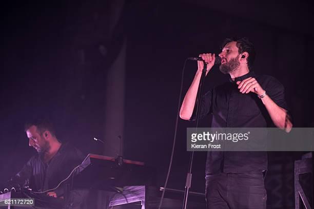 Sebastian Szary Sascha Ring Gernot Bronsert of Moderat performs at Metropolis Festival at the RDS Concert Hall on November 4 2016 in Dublin Ireland
