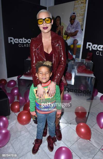 Sebastian Taylor Thomaz and Amber Rose attend Reebok Classic x Amber Rose Launch Event at Shoe Palace on September 30 2017 in Los Angeles California