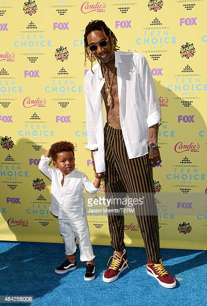 Sebastian Taylor Thomaz and rapper Wiz Khalifa attends the Teen Choice Awards 2015 at the USC Galen Center on August 16 2015 in Los Angeles California