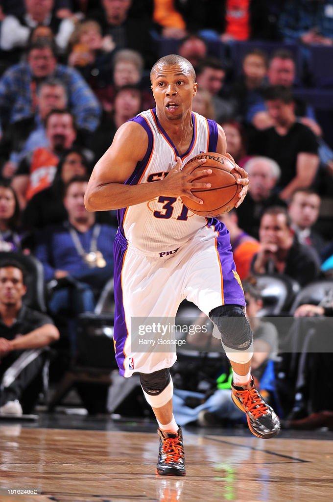 Sebastian Telfair #31 of the Phoenix Suns brings the ball up court against the Milwaukee Bucks on January 17, 2013 at U.S. Airways Center in Phoenix, Arizona.