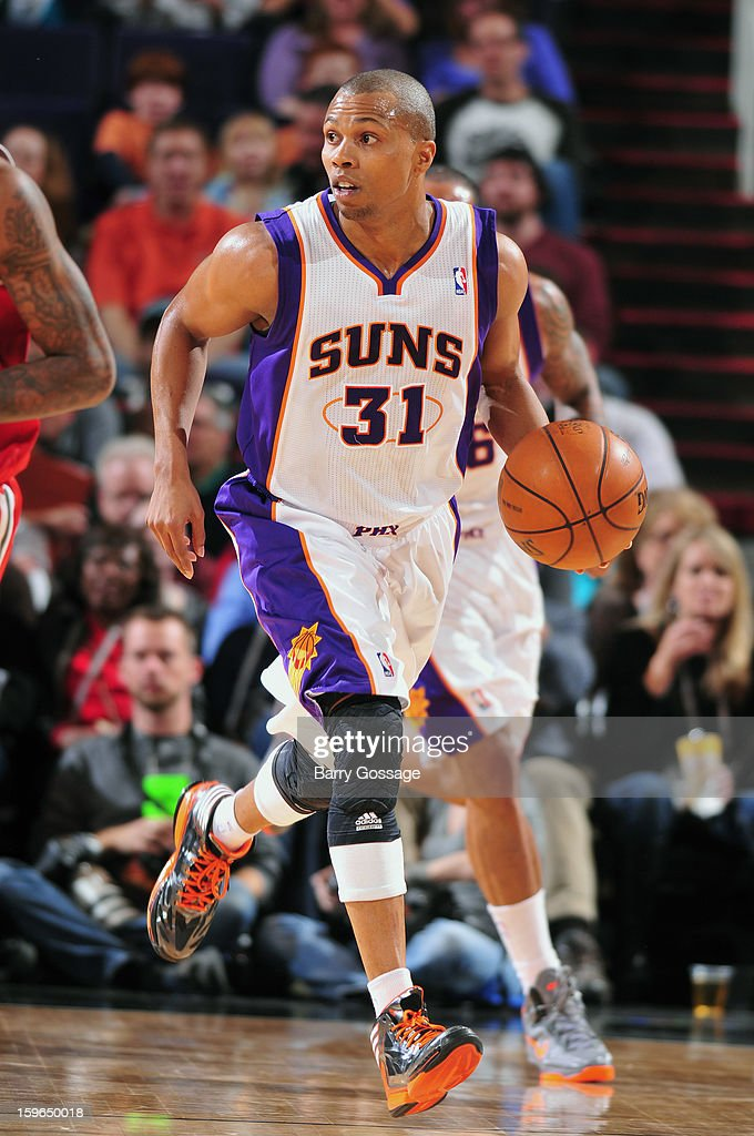 Sebastian Telfair #31 of the Phoenix Suns dribbles up the floor against the Milwaukee Bucks on January 17, 2013 at U.S. Airways Center in Phoenix, Arizona.