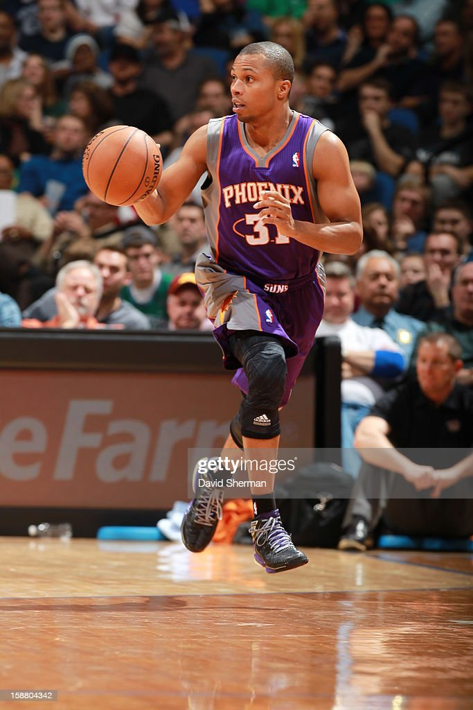 <a gi-track='captionPersonalityLinkClicked' href=/galleries/search?phrase=Sebastian+Telfair&family=editorial&specificpeople=202087 ng-click='$event.stopPropagation()'>Sebastian Telfair</a> #31 of the Phoenix Suns drives during the game between the Minnesota Timberwolves and the Phoenix Suns during the game on December 29, 2012 at Target Center in Minneapolis, Minnesota.