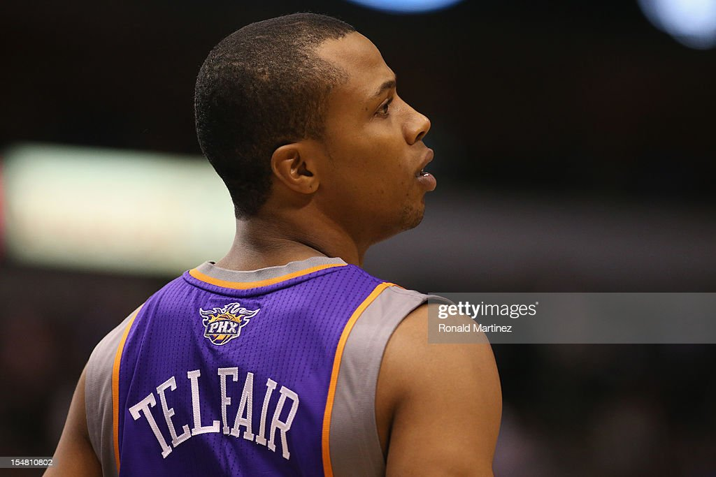 <a gi-track='captionPersonalityLinkClicked' href=/galleries/search?phrase=Sebastian+Telfair&family=editorial&specificpeople=202087 ng-click='$event.stopPropagation()'>Sebastian Telfair</a> #31 of the Phoenix Suns during a preseason game at American Airlines Center on October 17, 2012 in Dallas, Texas.