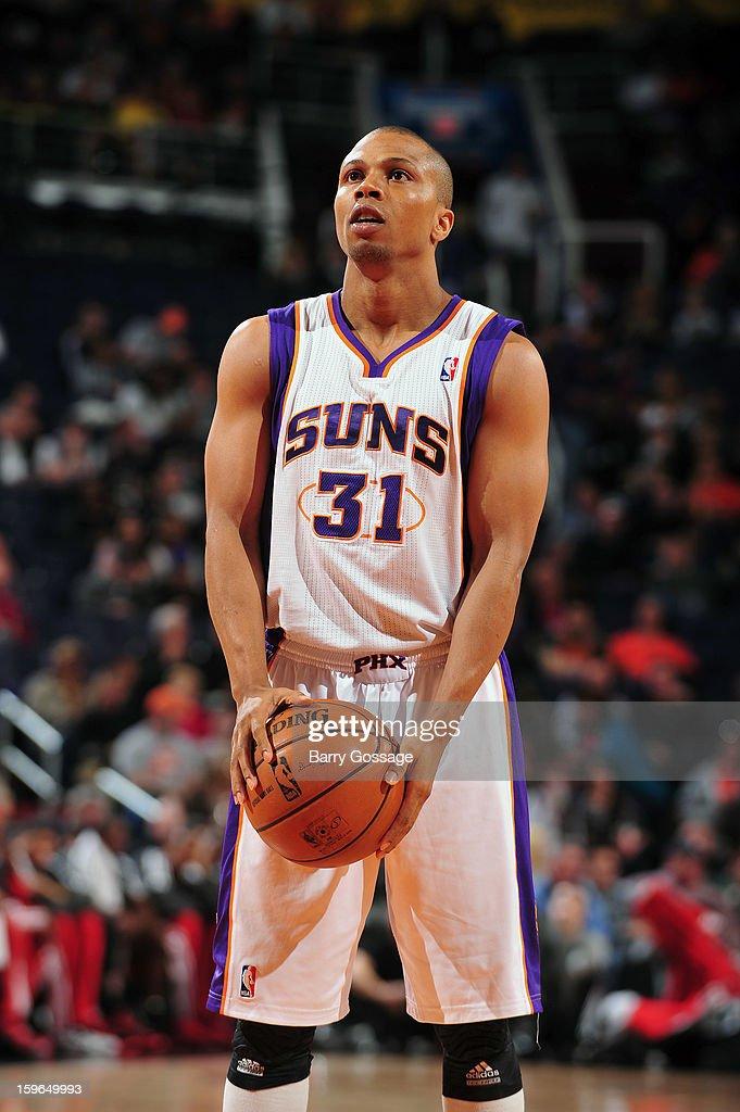 Sebastian Telfair #31 of the Phoenix Suns shoots a foul shot against the Milwaukee Bucks on January 17, 2013 at U.S. Airways Center in Phoenix, Arizona.