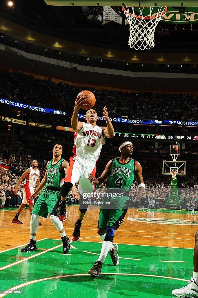 Sebastian Telfair #13 of the Toronto Raptors drives to the basket against the Boston Celtics on March 13, 2013 at the TD Garden in Boston, Massachusetts.