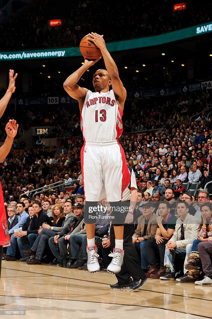 <a gi-track='captionPersonalityLinkClicked' href=/galleries/search?phrase=Sebastian+Telfair&family=editorial&specificpeople=202087 ng-click='$event.stopPropagation()'>Sebastian Telfair</a> #13 of the Toronto Raptors shoots against the Charlotte Bobcats on March 15, 2013 at the Air Canada Centre in Toronto, Ontario, Canada.