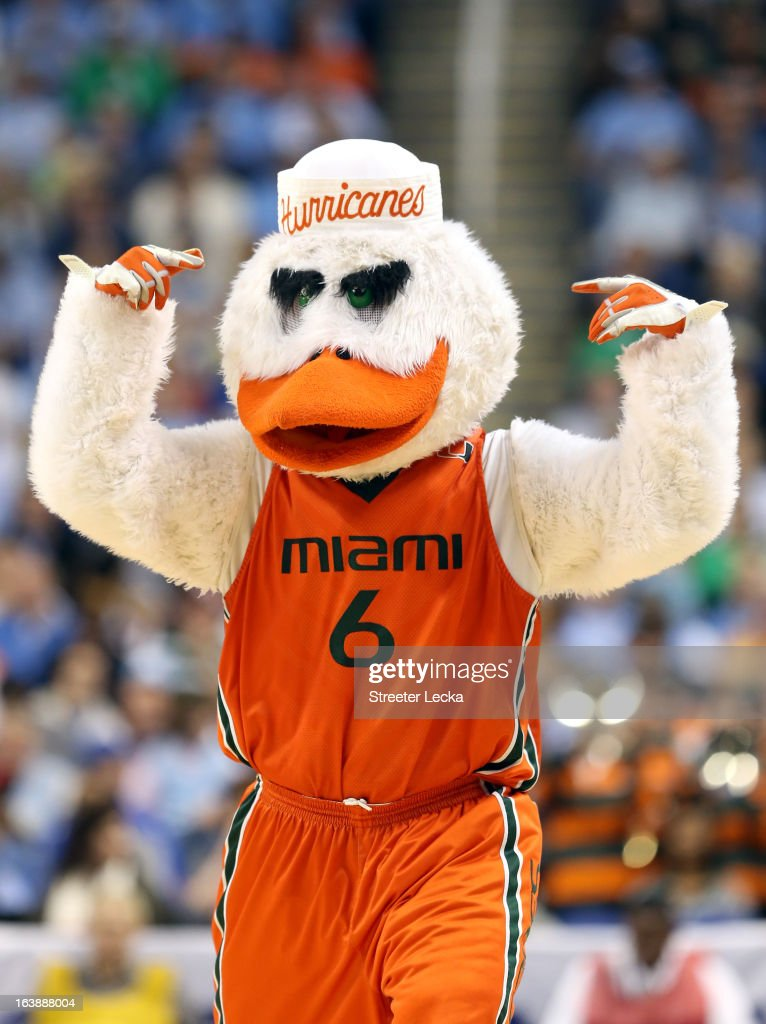 Sebastian the Ibis, mascot for the Miami (Fl) Hurricanes performs against the North Carolina Tar Heels during the final of the Men's ACC Basketball Tournament at Greensboro Coliseum on March 17, 2013 in Greensboro, North Carolina.