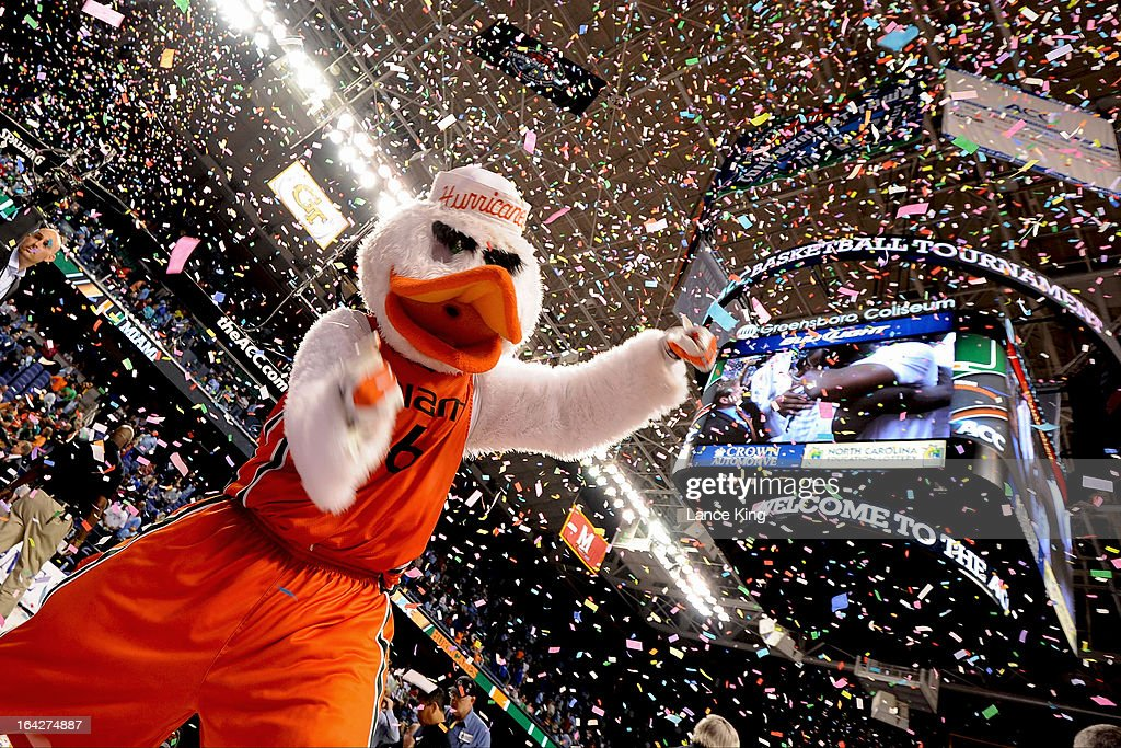 Sebastian the Ibis, the mascot of the Miami Hurricanes, celebrates following their 88-77 victory against the North Carolina Tar Heels during the finals of the 2013 Men's ACC Tournament at the Greensboro Coliseum on March 17, 2013 in Greensboro, North Carolina.