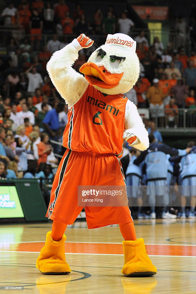 Sebastian the Ibis, the mascot of the Miami Hurricanes, performs during a game against the North Carolina Tar Heels at the BankUnited Center on February 9, 2013 in Coral Gables, Florida. Miami defeated North Carolina 87-61.