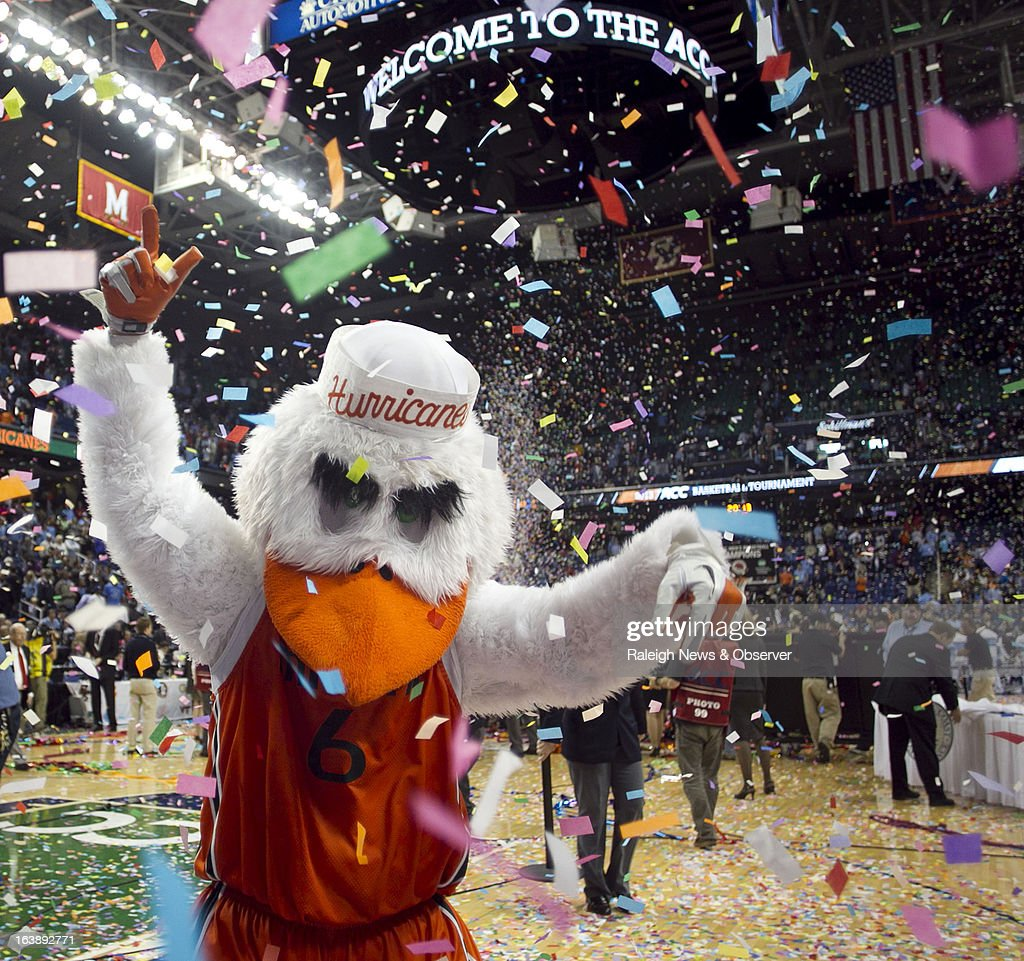 Sebastian, the Miami Hurricanes mascot, celebrates following the Hurricanes' 87-77 victory over North Carolina Tar Heels in the finals of the men's ACC basketball tournament at the Greensboro Coliseum in Greensboro, North Carolina, Sunday, March 17, 2013.