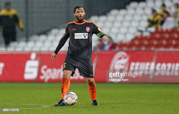 Sebastian Tyrala of Erfurt runs with the ball during the third league match between FC Energie Cottbus and RW Erfurt at Stadion der Freundschaft on...