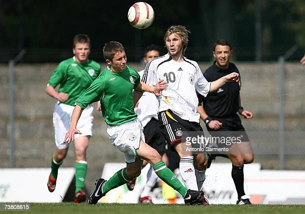 Sebastian Tyrala of Germany in action during the Men's U19 international friendly match between Ireland and Germany on April 4 2007 in Freamunde...