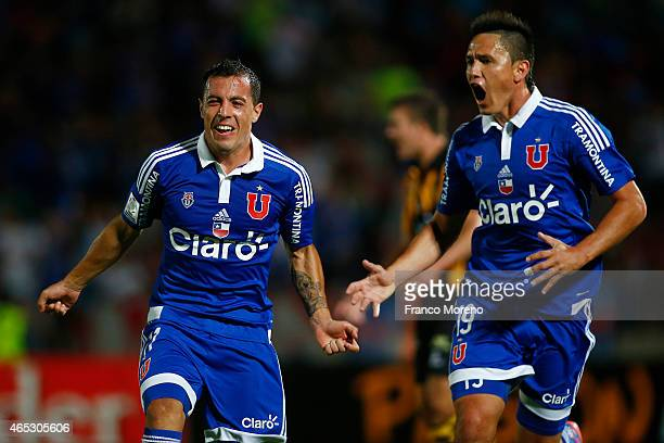 Sebastian Ubilla of U de Chile celebrates after scoring his team's second goal during a group 4 match between U de Chile and The Strongest as part of...