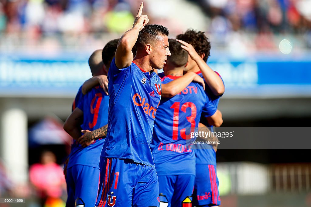 Sebastian Ubilla of U de Chile celebrates after scoring the first goal of his team during a match between U de Chile and Huachipato as a part of 15 round of Torneo Apertura 2015 at Nacional Julio Martinez Pradanos Stadium on December 05, 2015, in Santiago, Chile.