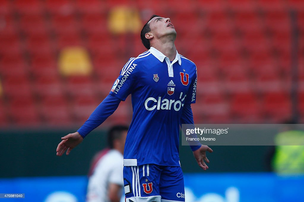 Sebastian Ubilla of U de Chile celebrates the third goal of his team during a match between Barnechea and U de Chile as part of 15 round of Torneo Scotiabank Clausura 2015 at Santa Laura Universidad SEK Stadium on April 18, 2015, in Santiago, Chile.