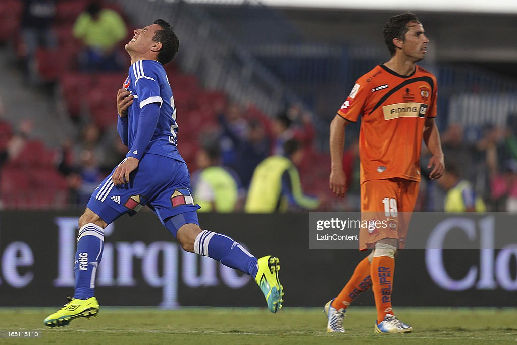 Sebastian Ubilla, of Universidad de Chile, celebrates a scored goal during a match between Universidad de Chile and Cobreloa as part of the Torneo Transicion 2013 at Estadio Nacional on March 30, 2013 in Santiago, Chile.