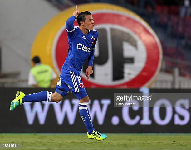 Sebastian Ubilla of Universidad de Chile celebrates a scored goal during a match between Universidad de Chile and Cobreloa as part of the Torneo...