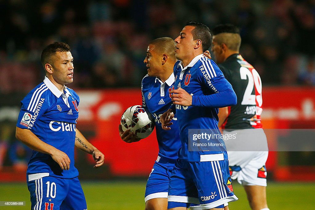 Sebastian Ubilla of Universidad de Chile celebrates after scoring the first goal of his team during a match between U de Chile and Antofagasta as a part of 1st round of Torneo Apertura 2015 at Nacional Julio Martinez Pradanos Stadium on July 26, 2015, in Santiago, Chile.