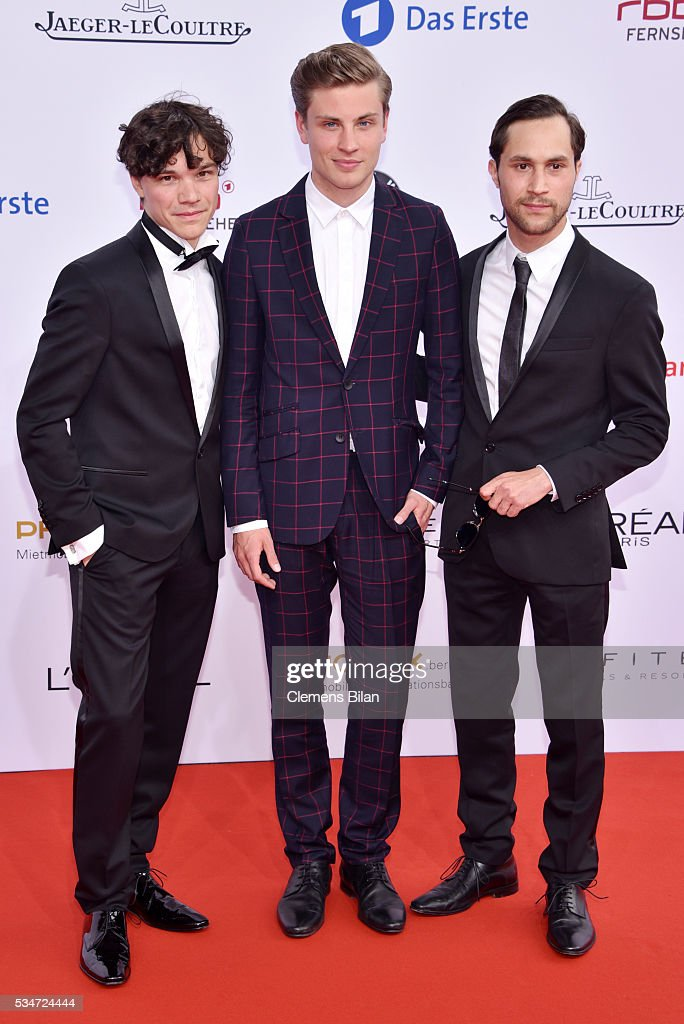 Sebastian Urzendowsky, Janik Schuemann and Ludwig Trepte attend the Lola - German Film Award (Deutscher Filmpreis) on May 27, 2016 in Berlin, Germany.