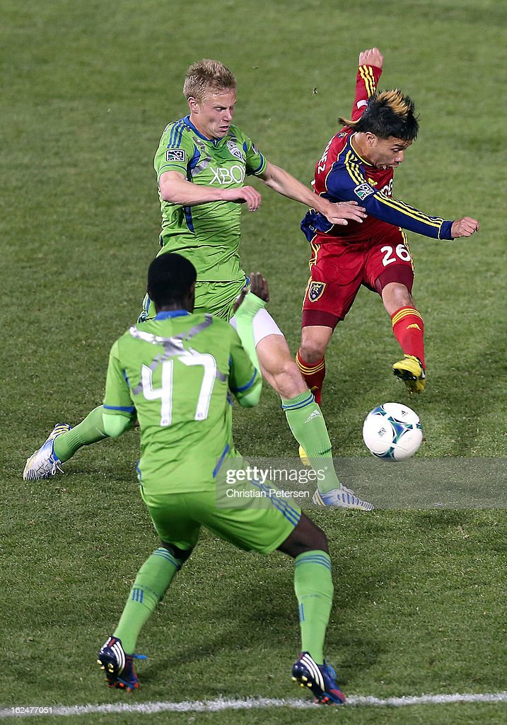 Sebastian Velasquez #26 of Real Salt Lake attempts a shot against the Seattle Sounders during the first half of the FC Tucson Desert Diamond Cup Championship match at Kino Sports Complex on February 23, 2013 in Tucson, Arizona. The Sounders defeated Real Salt Lake 1-0 to win the Championship.