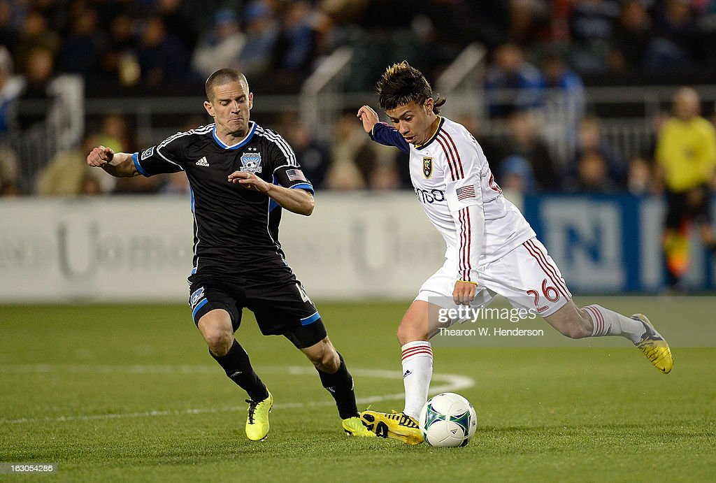 Sebastian Velasquez #26 of Real Salt Lake looks to pass the ball away from Sam Cronin #4 of the San Jose Earthquakes during their MLS Soccer game at Buck Shaw Stadium on March 3, 2013 in Santa Clara, California. Real Salt Lake won the game 2-0.