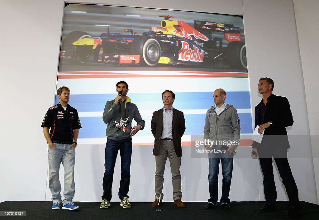 <a gi-track='captionPersonalityLinkClicked' href=/galleries/search?phrase=Sebastian+Vettel&family=editorial&specificpeople=2233605 ng-click='$event.stopPropagation()'>Sebastian Vettel</a>, F1 World Champion in 2010, 2011 and 2012, Mark webber, <a gi-track='captionPersonalityLinkClicked' href=/galleries/search?phrase=Christian+Horner&family=editorial&specificpeople=228706 ng-click='$event.stopPropagation()'>Christian Horner</a>, Team Principal of Red Bull Racing, <a gi-track='captionPersonalityLinkClicked' href=/galleries/search?phrase=Adrian+Newey&family=editorial&specificpeople=215410 ng-click='$event.stopPropagation()'>Adrian Newey</a>, Red Bull Racing chief technical officer and <a gi-track='captionPersonalityLinkClicked' href=/galleries/search?phrase=David+Coulthard&family=editorial&specificpeople=171316 ng-click='$event.stopPropagation()'>David Coulthard</a> speak to factory workers at the Red Bull Racing Factory on November 27, 2012 in Milton Keynes, England.