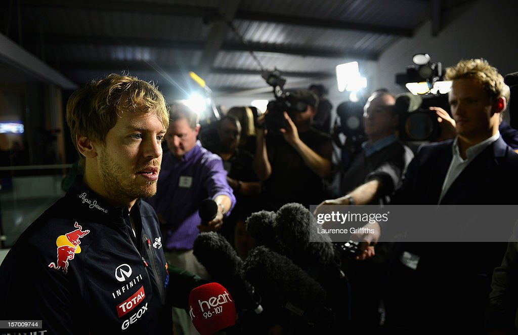 <a gi-track='captionPersonalityLinkClicked' href=/galleries/search?phrase=Sebastian+Vettel&family=editorial&specificpeople=2233605 ng-click='$event.stopPropagation()'>Sebastian Vettel</a>, F1 World Champion in 2010, 2012 and 2012 speaks to the media at the Red Bull Racing Press Conference at the Red Bull Factory on November 27, 2012 in Milton Keynes, England.