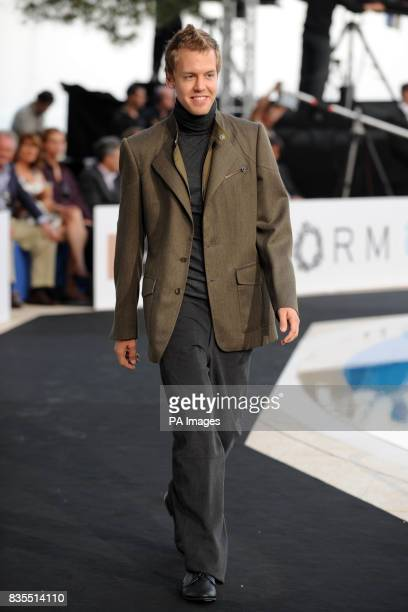 Sebastian Vettel models during the Fashion Show at The Amber Lounge Le Meridien Beach Plaza Hotel Monaco