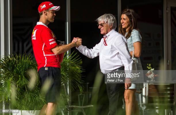 Sebastian Vettel of Ferrari and Germany Bernie Ecclestone during the Bahrain Formula One Grand Prix at Bahrain International Circuit on April 16 2017...