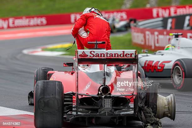 Sebastian Vettel of Ferrari and Germany crashes due to tyre failure during the Formula One Grand Prix of Austria at Red Bull Ring on July 3 2016 in...