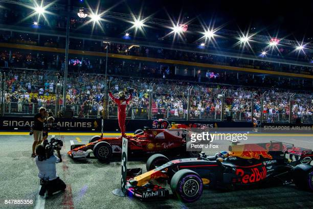 Sebastian Vettel of Ferrari and Germany during qualifying for the Formula One Grand Prix of Singapore at Marina Bay Street Circuit on September 16...