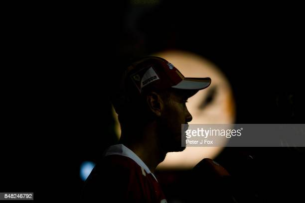 Sebastian Vettel of Ferrari and Germany during qualifying for the Formula One Grand Prix of Singapore at Marina Bay Street Circuit on September 16...