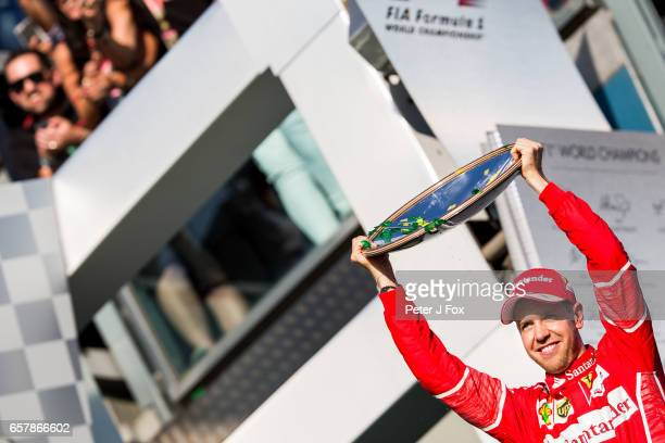 Sebastian Vettel of Ferrari and Germany during the Australian Formula One Grand Prix at Albert Park on March 26 2017 in Melbourne Australia