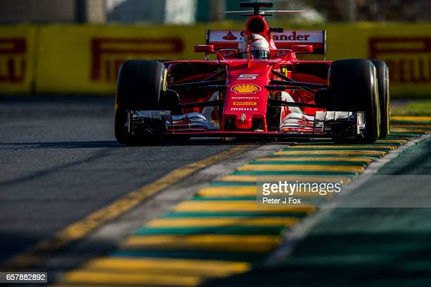 Sebastian Vettel of Ferrari and Germany during the Australian Formula One Grand Prix at Albert Park on March 26 2017 in Melbourne Australia