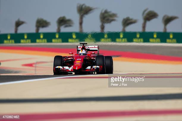 Sebastian Vettel of Ferrari and Germany during the Bahrain Formula One Grand Prix at Bahrain International Circuit on April 19 2015 in Bahrain Bahrain