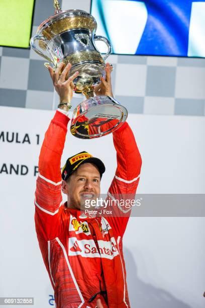 Sebastian Vettel of Ferrari and Germany during the Bahrain Formula One Grand Prix at Bahrain International Circuit on April 16 2017 in Bahrain Bahrain