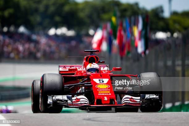 Sebastian Vettel of Ferrari and Germany during the Formula One Grand Prix of Brazil at Autodromo Jose Carlos Pace on November 12 2017 in Sao Paulo...