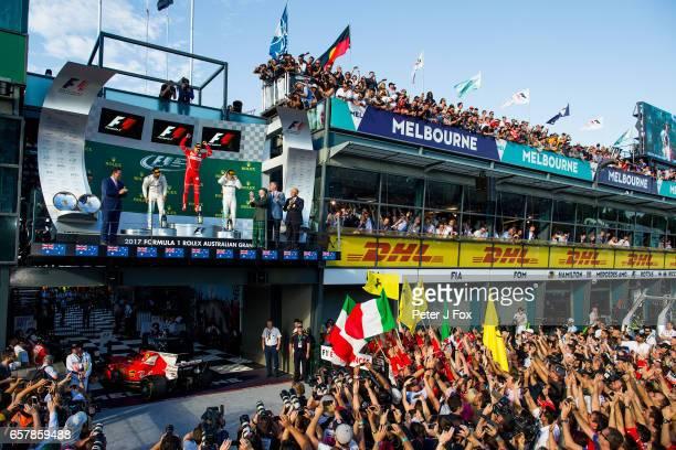 Sebastian Vettel of Ferrari and Germany wins the Australian Formula One Grand Prix at Albert Park on March 26 2017 in Melbourne Australia