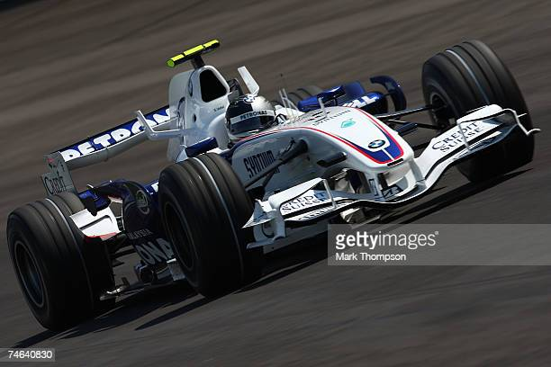 Sebastian Vettel of Germany and BMW Sauber practices for the F1 Grand Prix of USA at the Indianapolis Motor Speedway on June 15 2007 in Indianapolis...